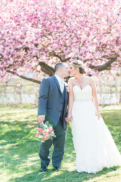 Bride and groom kiss under cherry blossom trees outside the Sterling Ballroom