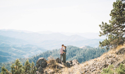 Couple on mountain top in Medford Oregon.