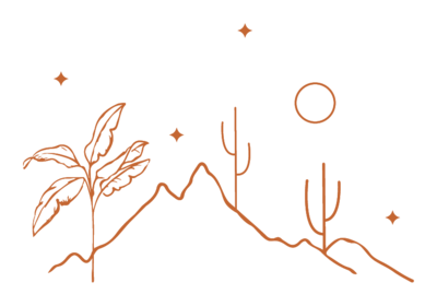 palm trees and cactus with moon and stars drawing