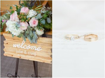 rings and ceremony welcome sign at huguenot loft
