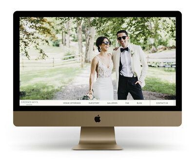 Custom Showit Website Design Mock Up for Crossed Keys Estate, a New Jersey wedding venue