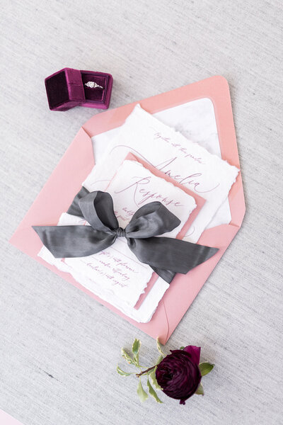 moody valentine wedding invitation mauve and marble wax seal menu deckled torn edge 15