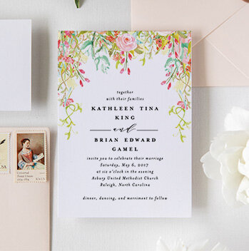 Floral Wedding Invitation Monogram