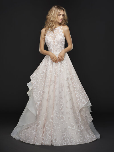 Hayley Paige bridal gown - Sandwashed orchid caviar bridal ball gown, illusion jewel neckline with sweetheart lining and modern strap detail at back, full floral skirt with layered ivory organza.