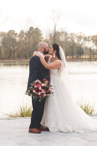kisses from the couple after doing a first look