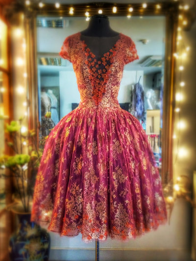 Svetlana_gold_lace_fuschia_silk_ballerina_dress_JoanneFlemingDesign