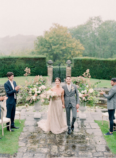 Outdoor wedding at Hedsor House in the sunken garden