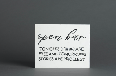 Open Bar Sign White