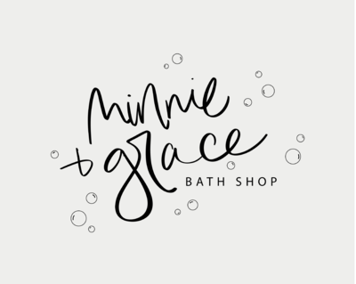 hand lettered feminine logo for minnie + grace bath shop by Just Like White Creative