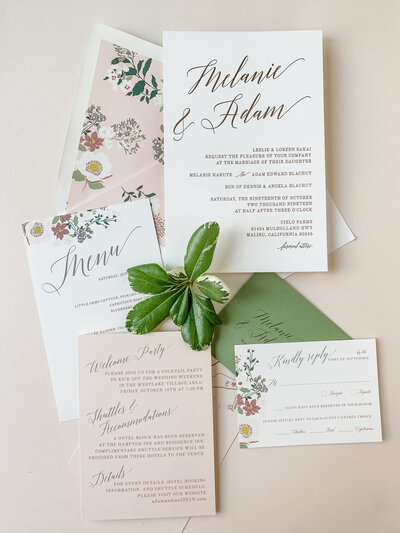 pink and green botanical wedding stationery