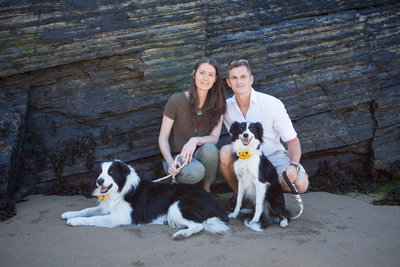 engagement happy dogs on mwnt beach