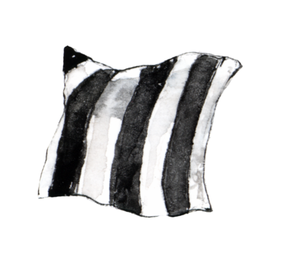 A painted black and white striped throw pillow.