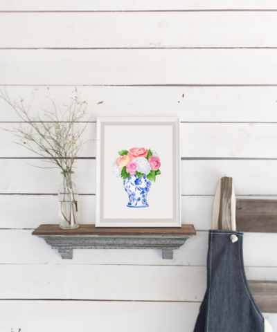Watercolor Ginger Jar with Peonies Print