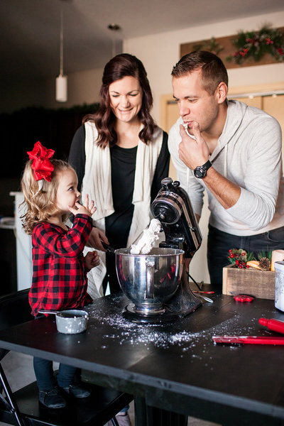 Des Moines Iowa Lifestyle family making cookies together.