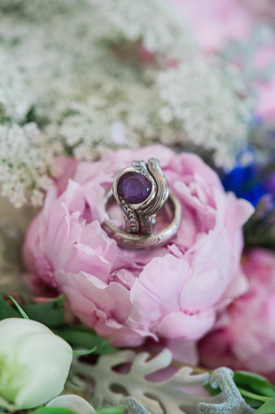 peonies and custom ring wedding photography north shore