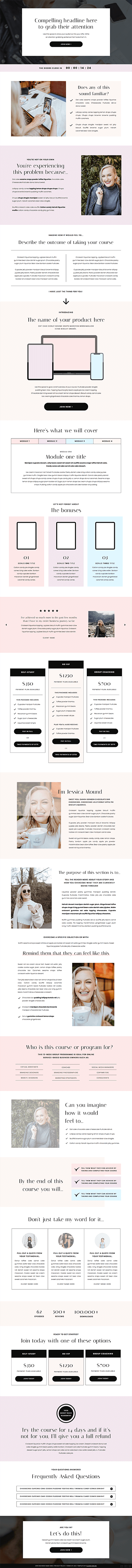 Liquorice Showit sales page template for coaches, creatives and photographers