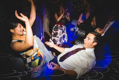 guests having fun on the dancefloor at this relaxed wedding