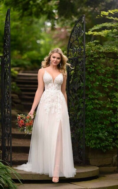 Boho wedding dress with front slit, beaded straps