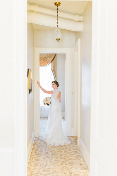 bride in hallway at snowden house