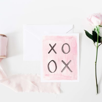 xoxo hugs and kisses black and pink watercolor greeting card
