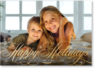 elegant script holiday photo card