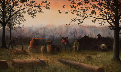 Watercolor Painting Stirring the Mash by Alan Shuptrine