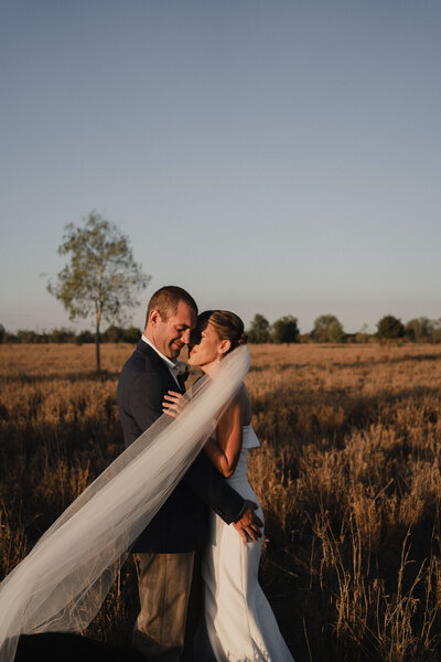A Bride and Groom in an outback Australian field