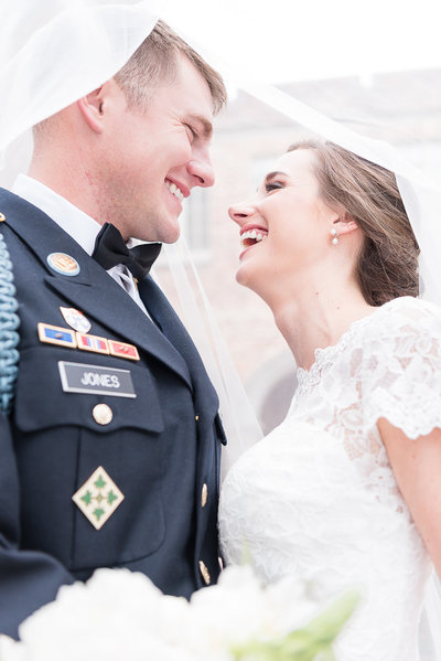 Laughing Bride and Groom - Military Wedding - Under the Veil