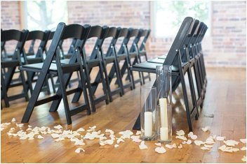 ceremony chairs set up for wedding in downtown greenville huguenot loft