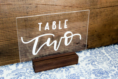 Acrylic Table Number Wood Stand Wedding Rental