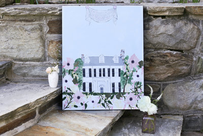 Custom wedding venue painting of Rust Manor House in Leesburg Virginia