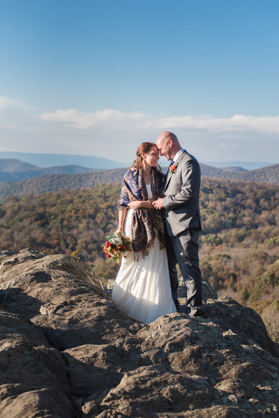 Bride and Groom at their mountain elopement