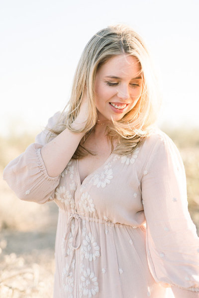Tucson Desert Engagement Session Photo at Gates Pass of Girl Wears Blush Pink Dress | Tucson Wedding Photographer | West End Photography