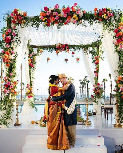 multi-cultural and multi-ethnic hindu wedding at waterfront beach resort