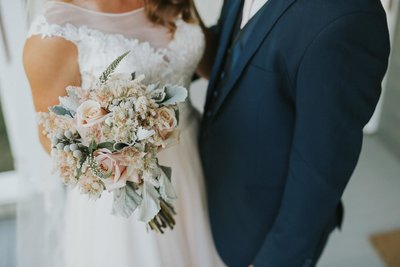 blush wedding flowers Rose and Blushing Bride Protea bridal bouquet