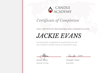 soy candle course certificate
