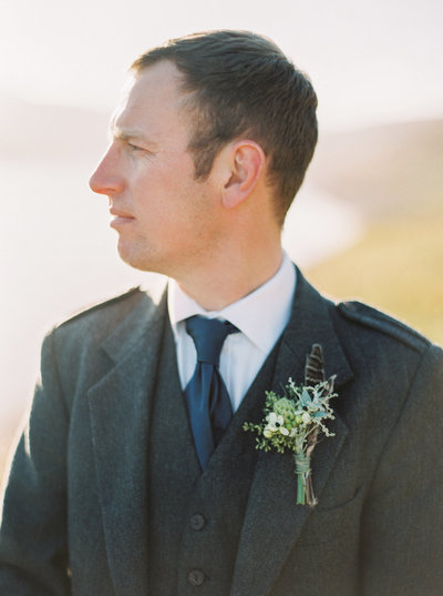 Groom in Tweed and Organic Buttonhole for Autumn Scottish Highlands Elopement