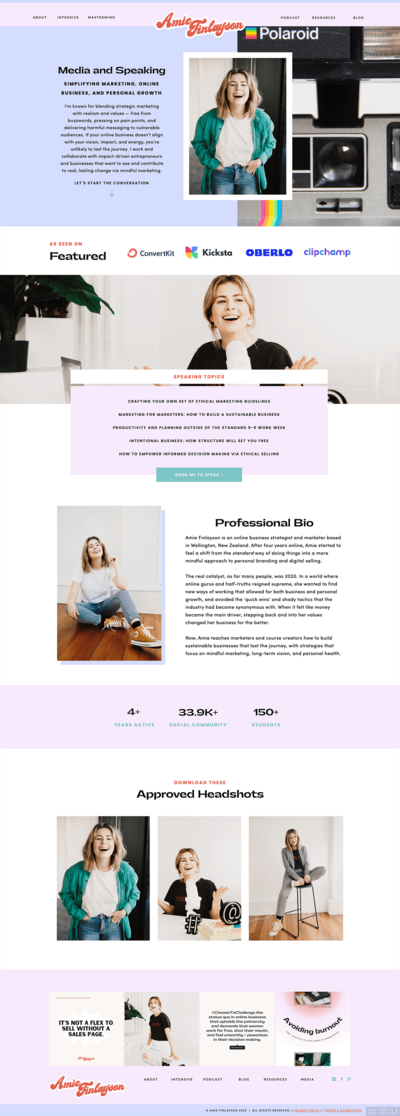Speaking Page Showit Website Template Showcase
