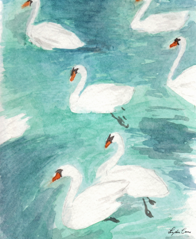 swans blue green watercolor illustration
