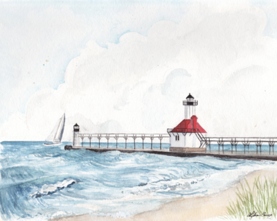 st joe michigan lighthouse watercolor illustration