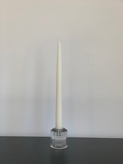 Clear Pleated Glass Taper Candleholder