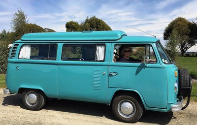 Review from Elizabeth pictured driving Rhonda, kombi van