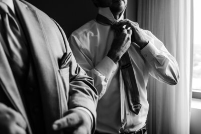 groom getting ready for wedding day birmingham alabama