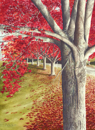 Big Red Walk by Alan Shuptrine Painting at Baylor School in Chattanooga