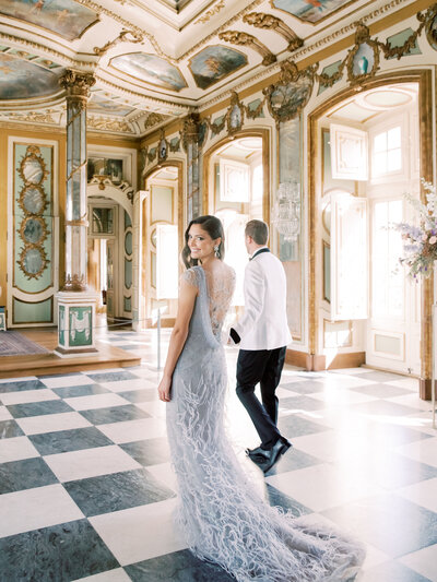 Luxury Bride and Groom in  a Lisbon Palace with Marchesa Notte