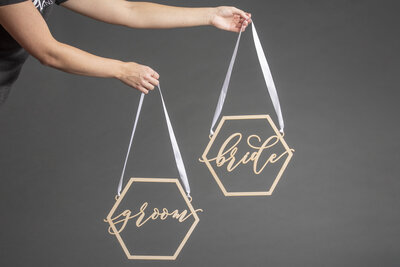 Hexagon Chair Hangs Bride and Groom