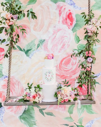 Texas Custom Floral Painted Wedding Backdrop