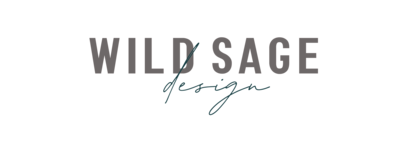 Wild Sage Design Logo Gray and Dark Blue