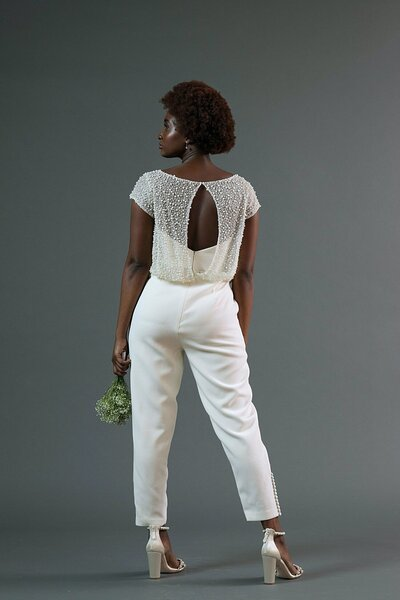 Photo link to more details about the Jonah bridal jumpsuit