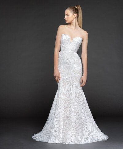 Blush by Hayley Paige bridal gown - Ivory Marrakesh beaded fit to flare gown, strapless sweetheart neckline with scallop accent, layered with sparkle tulle and cashmere lining.